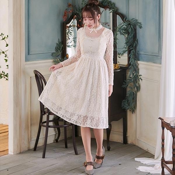 露比午茶-蕾絲立領荷葉透膚長袖長洋裝
