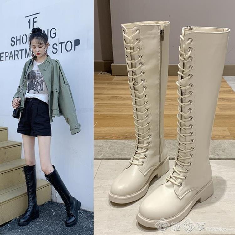 小個子長靴女2019新款秋季高筒過膝靴韓版前系帶騎士靴秋冬瘦瘦靴