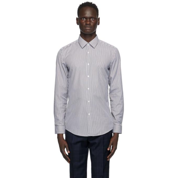 BOSS 黑色 and 白色 Slim-Fit 条纹衬衫
