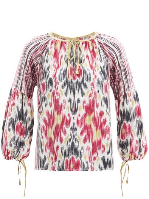 D'Ascoli - Amina Ikat-print Silk-crepe Blouse - Womens - Pink Multi