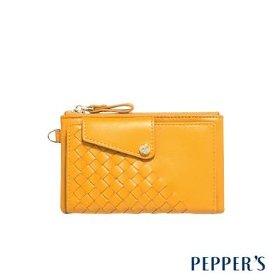 PEPPER S Olivia 羊皮編織零錢包 - 芥末黃