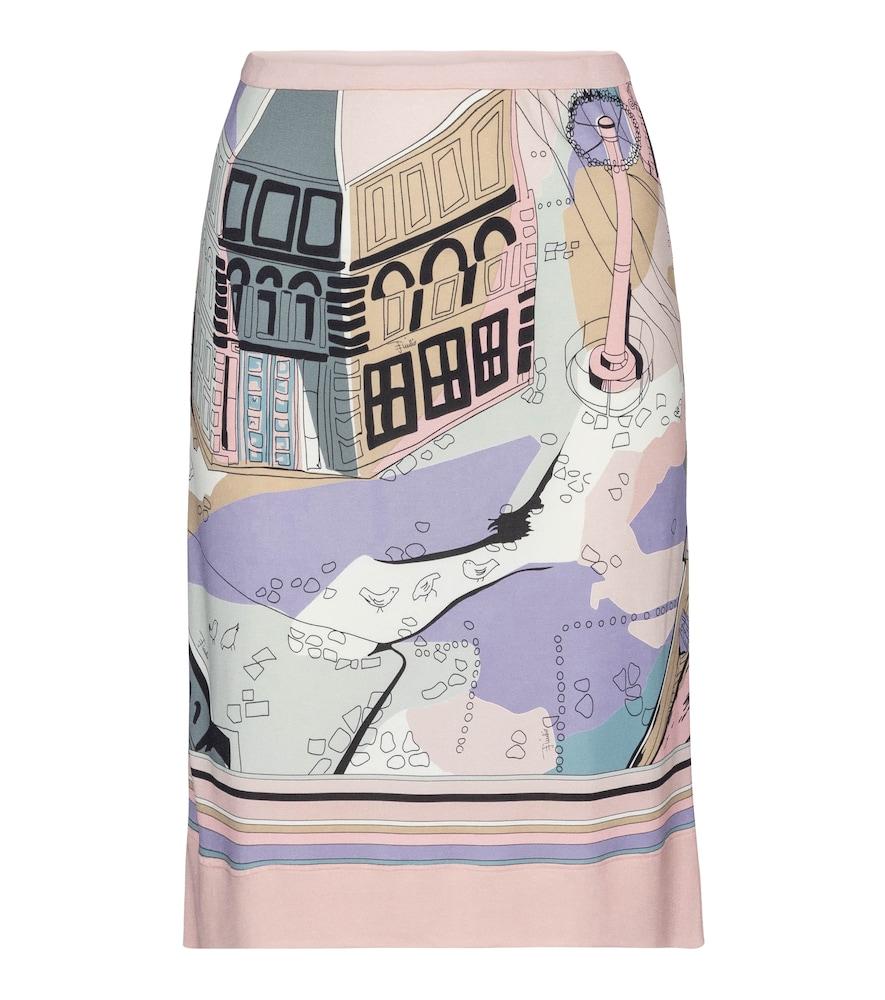 Printed high-rise jersey midi skirt