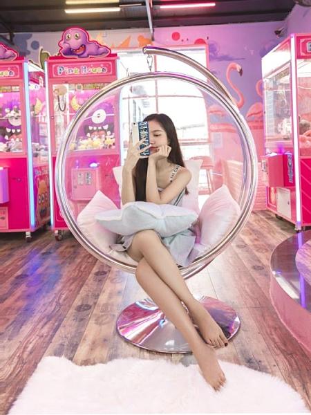 吊椅 秋千吊椅網紅透明泡泡椅玻璃吊籃家用室內臥室陽臺搖籃半球太空椅YTL 快速出貨
