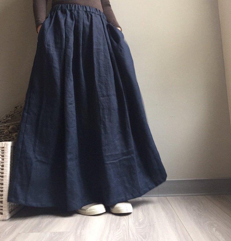 *霧中森林*歐式優雅深藍口袋及踝長裙/100%亞麻