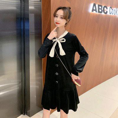 長袖 洋裝 連身裙 中大尺碼L-4XL秋季蝴蝶結荷葉邊寬鬆法式金絲絨氣質女裝R09-637.胖胖美依
