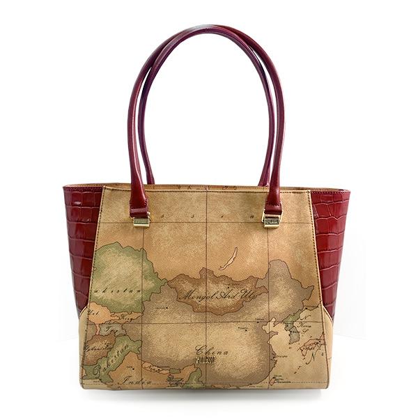 【Alviero Martini 義大利地圖包】地圖CHIC系列 亮面鱷魚紋肩背包-酒紅