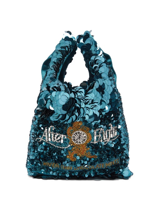 Anya Hindmarch - After Eights Sequinned Recycled-satin Tote Bag - Womens - Blue Multi