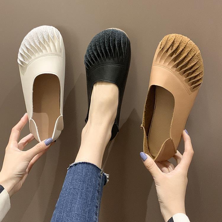 娃娃鞋 淺口豆豆鞋女春季2020新款百搭復古奶奶鞋軟底森女娃娃鞋兩穿單鞋 新年新品全館免運