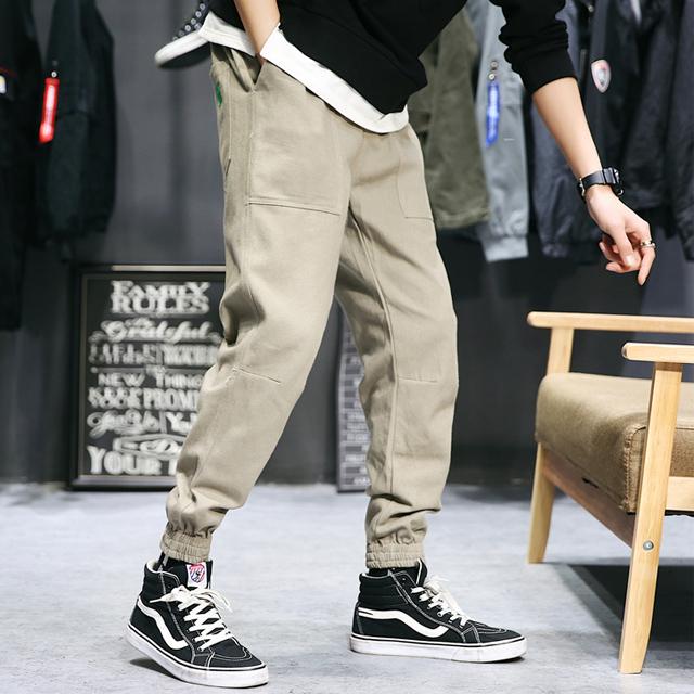 [二件$598] 素面立體剪裁壓線縮口褲 鬆緊抽繩 休閒束口褲 超好穿 加大尺寸 買到賺到 穿到帥到【QTJ9917】
