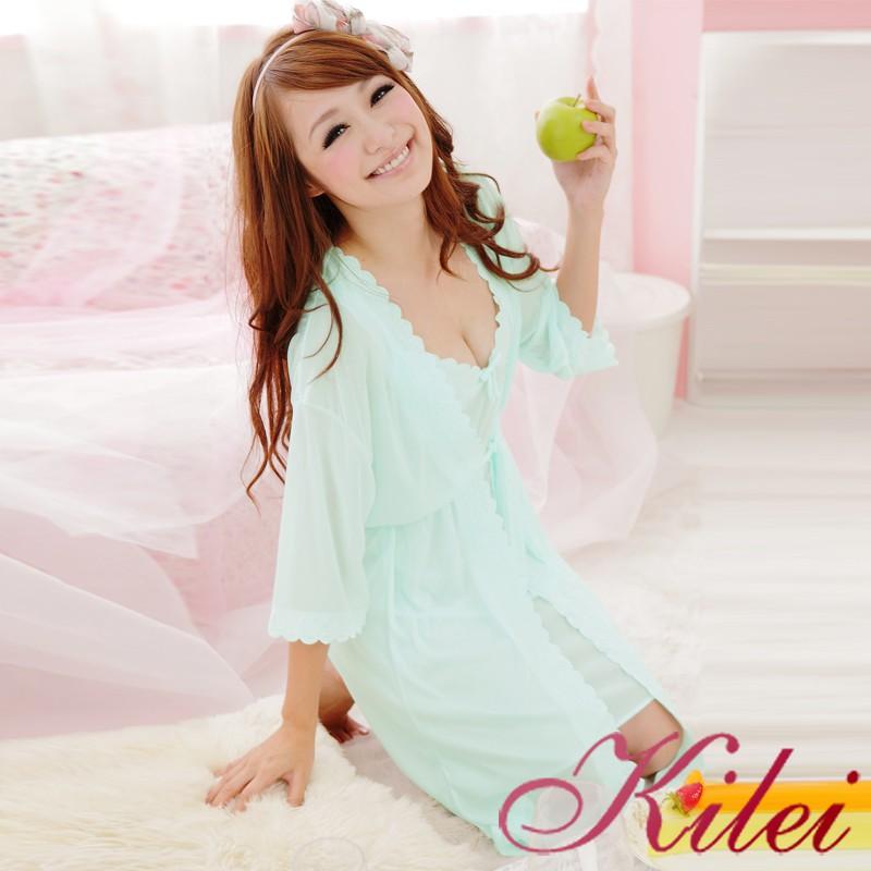 【Kilei】夏季冰絲深V涼感細肩帶連身裙睡袍二件式睡衣組XA667-01(清透藍綠色)全尺碼
