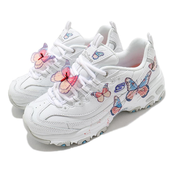 Skechers 休閒鞋 D Lites 女 蝴蝶 白 粉紅 增高 厚底 記憶鞋墊 老爹鞋【ACS】 149233WLV