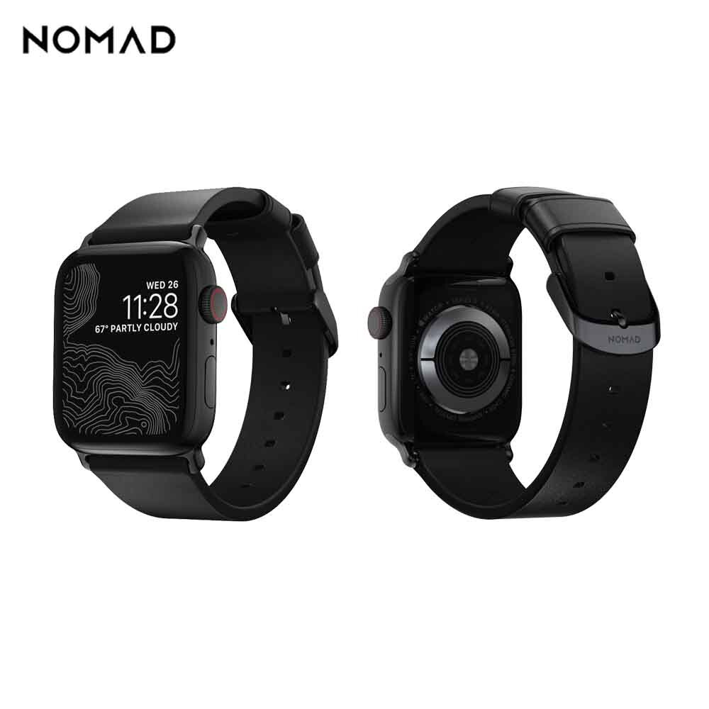 美國NOMADxHORWEEN Apple Watch專用質樸黑皮革錶帶-摩登黑,38/40mm