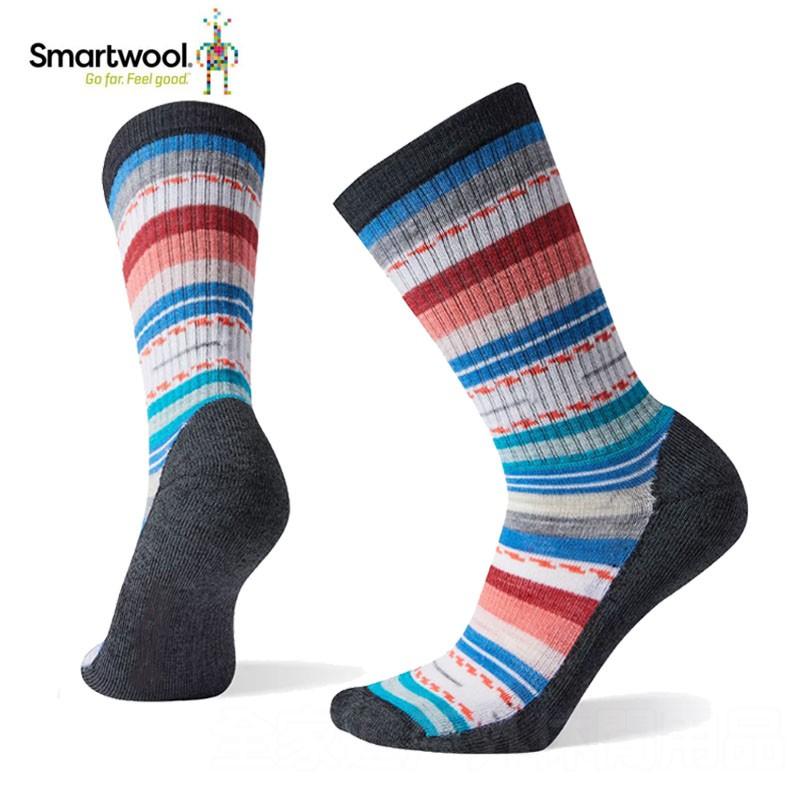 【SmartWool 美國】女輕量減震型徒步印花中長襪 黑/多樣花紋/女性登山襪/運動襪/SW001396857