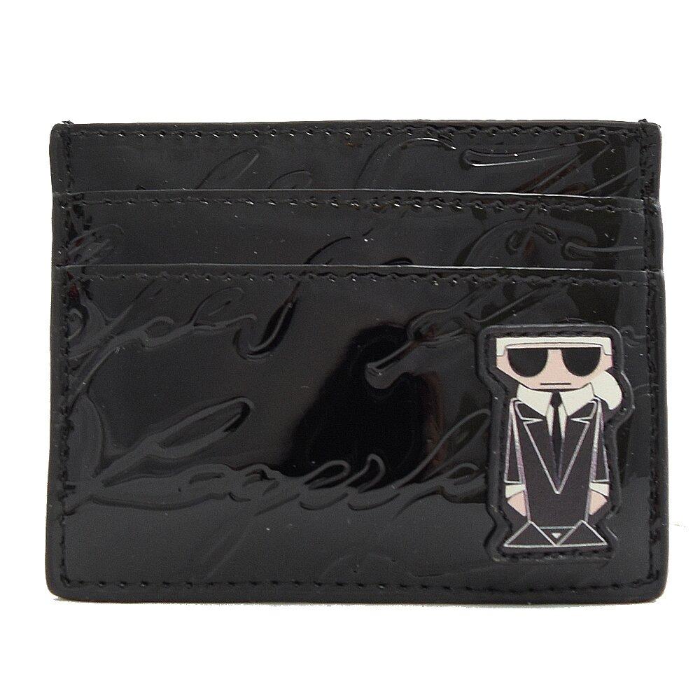 KARL LAGERFELD 卡爾 專櫃商品 公仔亮面信用卡名片夾.黑