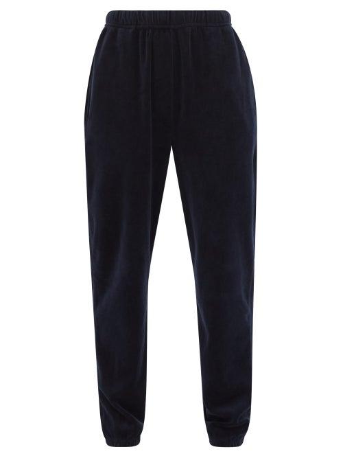 Les Tien - Cotton-blend Velour Track Pants - Womens - Navy