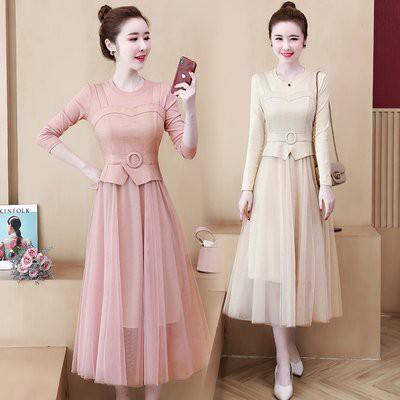洋裝 連身裙 中大尺碼L-5XL新款胖MM時尚優雅遮肉顯瘦 網紗拼接連衣裙R030-2848.胖胖美依