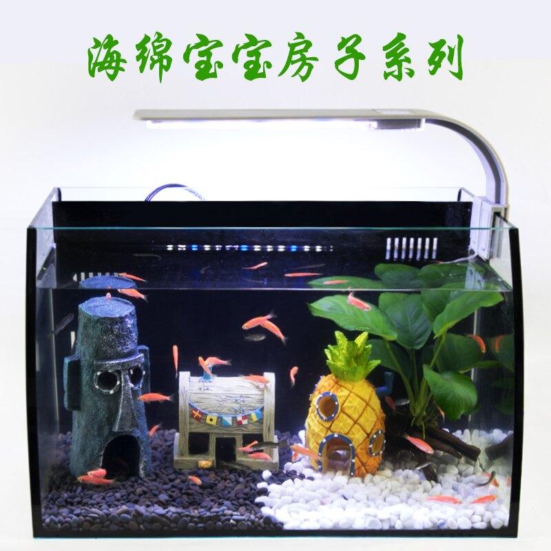 魚缸造景擺件躲避屋慈鯛繁殖罐魚室海綿寶寶蝦窩菠蘿屋樹脂裝飾品