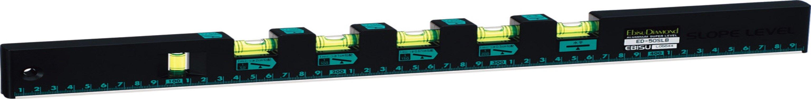 【日本EBISU】 排水流向多泡水平尺 500㎜ (有磁) ED-50SLMB  水平液具有夜光,可用於暗處使用