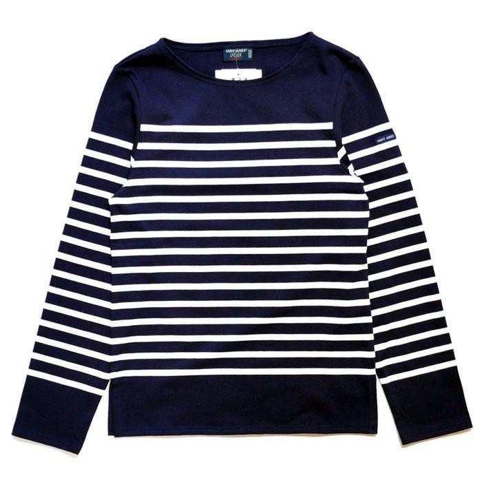 法國品牌Saint James NAVAL海軍條紋圓領厚款九分長袖T-藍底白條(男女)
