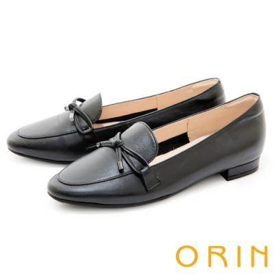 ORIN 細版蝴蝶結真皮樂福 女 平底鞋 黑色