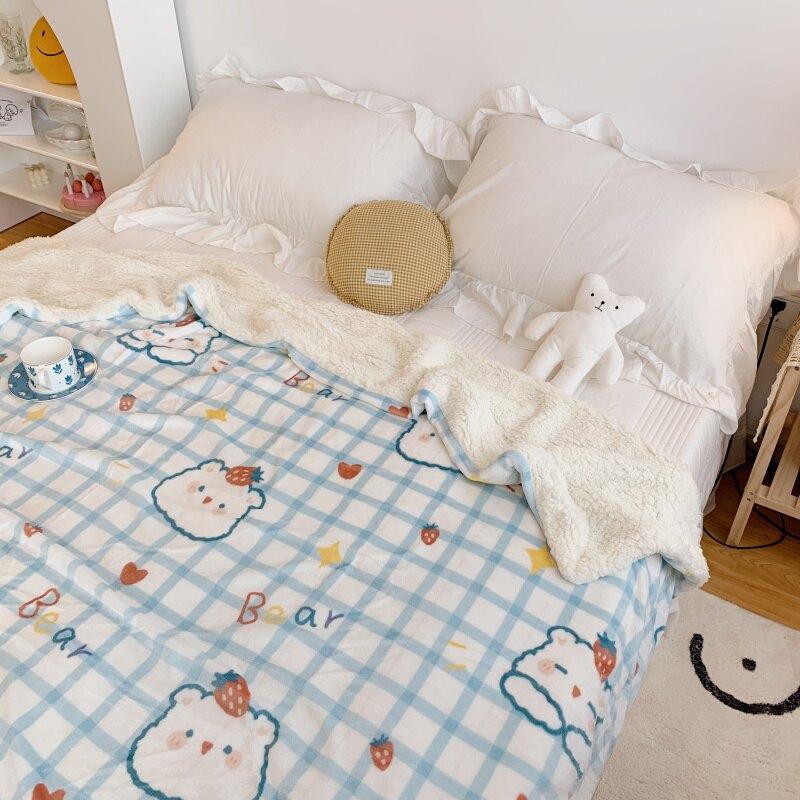 毛毯 法蘭絨毛毯被子冬季羊羔絨加厚雙層保暖兒童珊瑚絨毯子宿舍午睡毯 OB10061