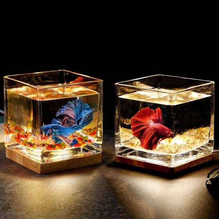 超白加厚方形玻璃魚缸客廳辦公桌面創意生態小型斗魚缸夜燈迷你缸 小山好物交換禮物