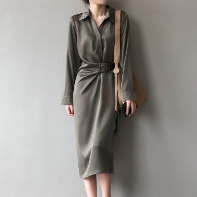 洋裝 秋季新款韓版緞面襯衣連衣裙女設計感小眾氣質長裙女.N515.3360胖胖美依