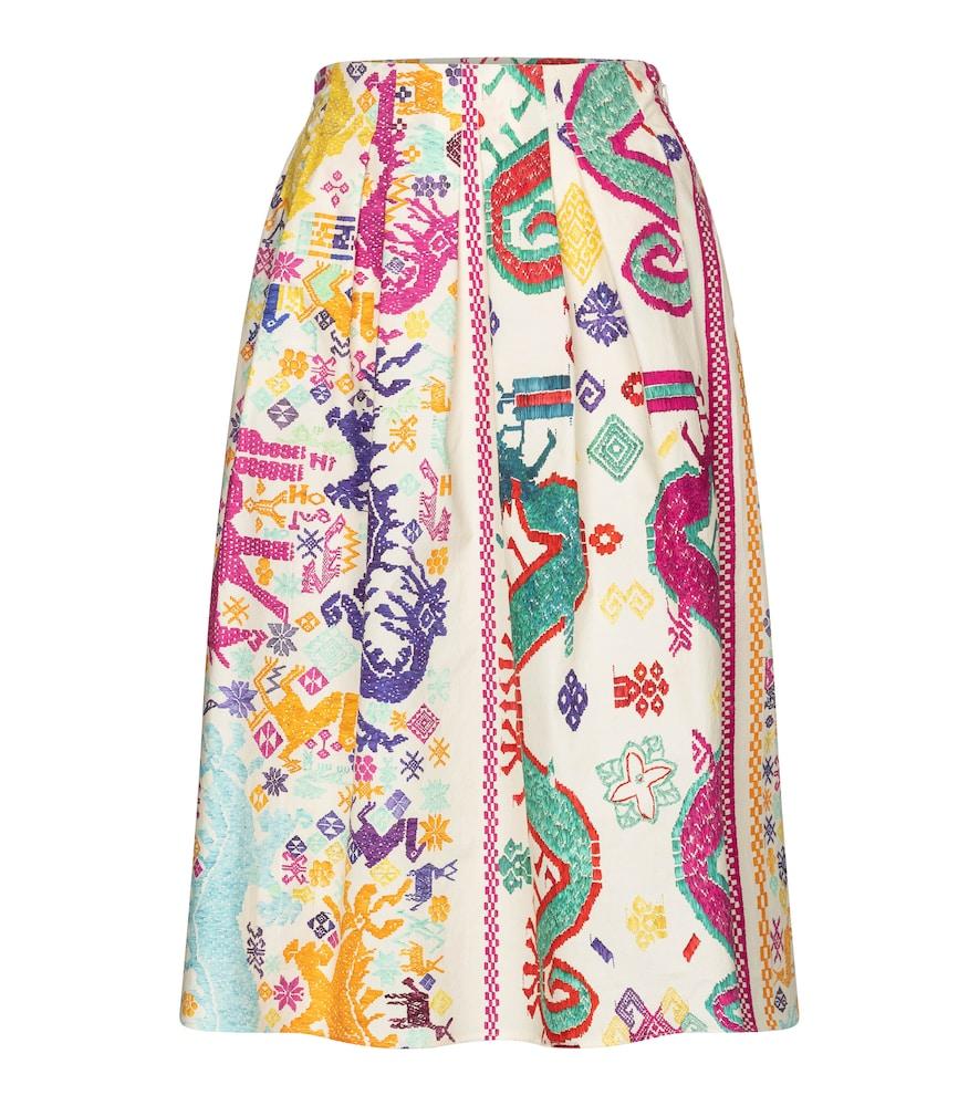Printed cotton poplin midi skirt