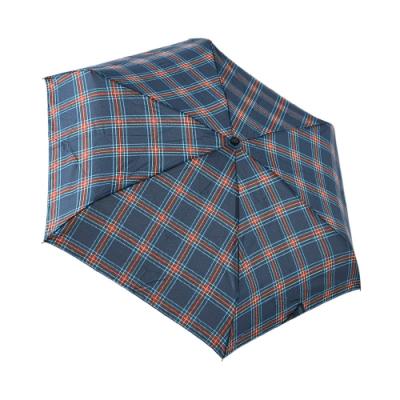 HUS藍紅花格紋抗UV迷你口袋傘