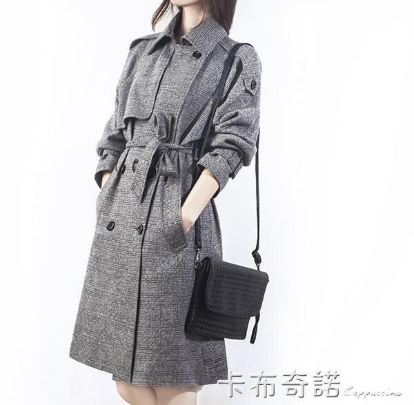 夯貨折扣!秋季英倫韓版風衣中長款修身大碼格子大衣雙排扣外套女潮