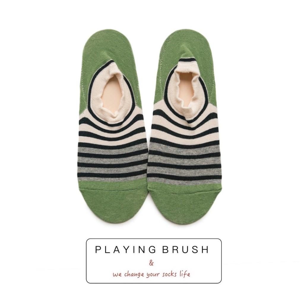 夏天綠色踝襪 防滑 棉襪 條紋 隱形襪 船襪 情侶款 拼色 日系 襪子