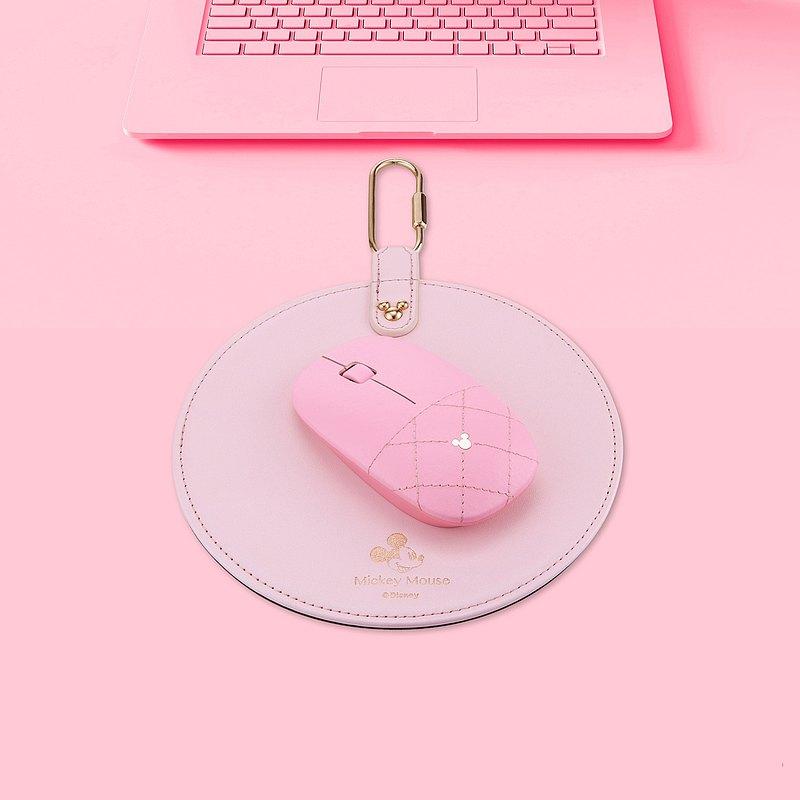 infoThink 米奇系列皮革無線光學滑鼠+滑鼠墊超值組-裸粉
