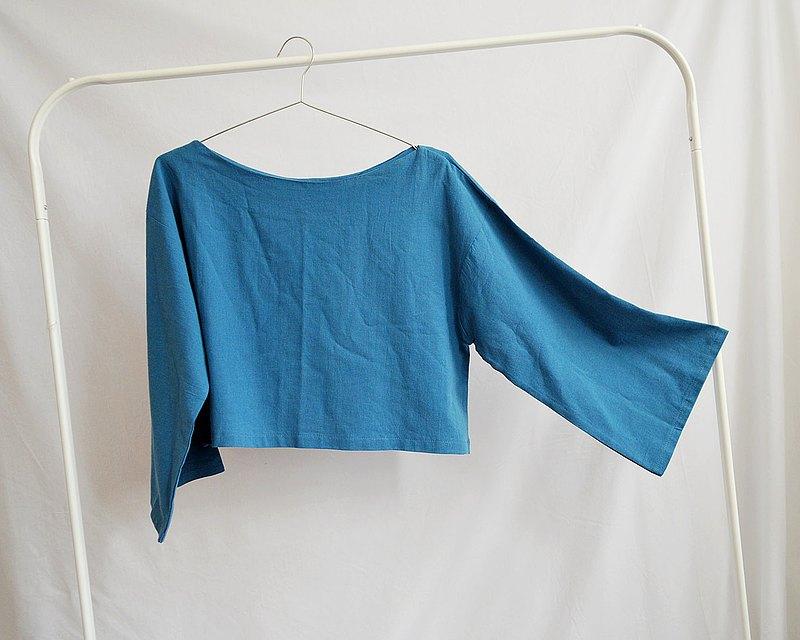 寬袖棉襯衫(藍色海洋)