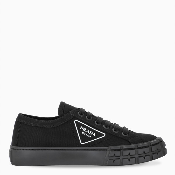 Prada Women's black canvas Wheel sneakers