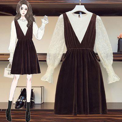 洋裝 拼接裙 中大尺碼L-4XL秋冬新款洋氣蕾絲拼接絲絨顯瘦打底外穿兩用連身裙R04-4025.胖胖美依
