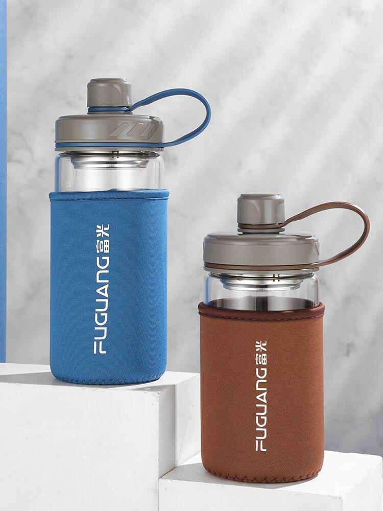 單層玻璃杯便攜水杯大容量耐熱家用泡茶杯子過濾定制印字logo 秋冬新品上新