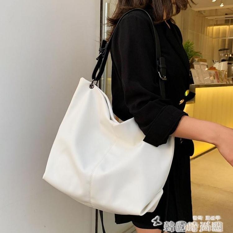 網紅側背大包包女2020新款潮韓版百搭斜背包簡約時尚大容量托特包