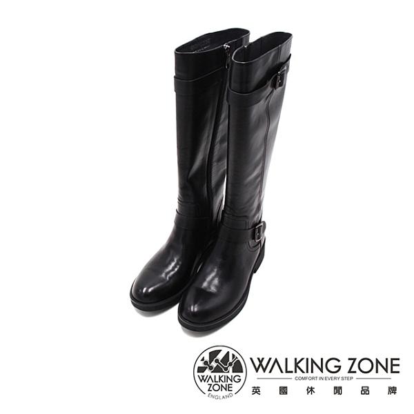 WALKING ZONE (女)經典側釦 及膝長靴 長筒靴 女鞋-黑