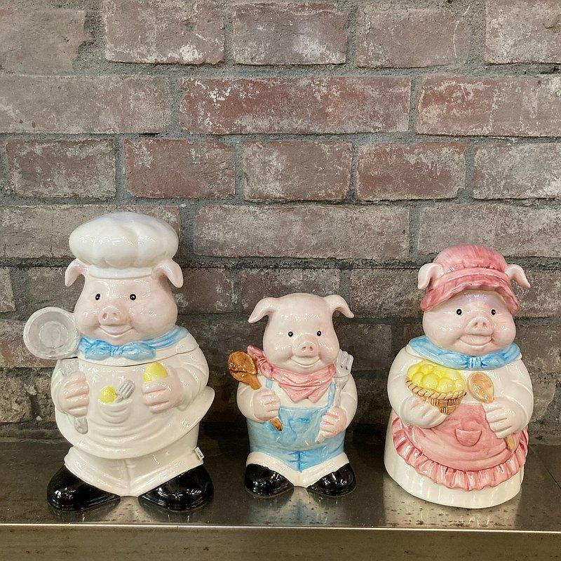 豬大廚一家三口陶瓷儲物罐