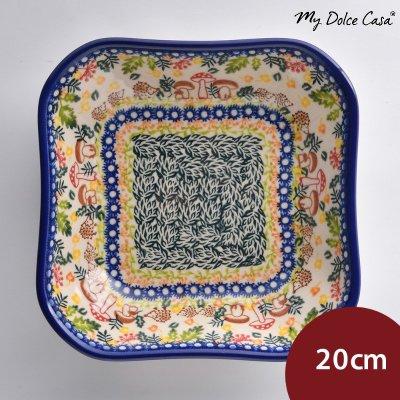 波蘭陶 綠野仙蹤系列 方形深餐盤 陶瓷盤 菜盤 沙拉盤 水果盤 20cm 波蘭手工製[BMF231]【限宅配】