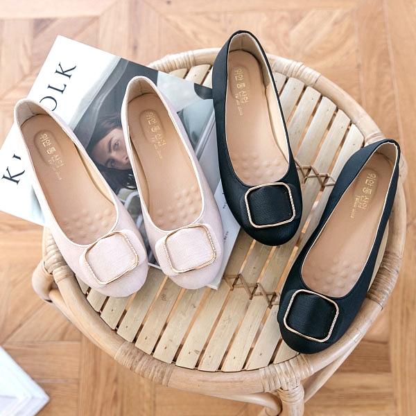 包鞋.MIT日系簡約扣環圓頭平底娃娃鞋.白鳥麗子