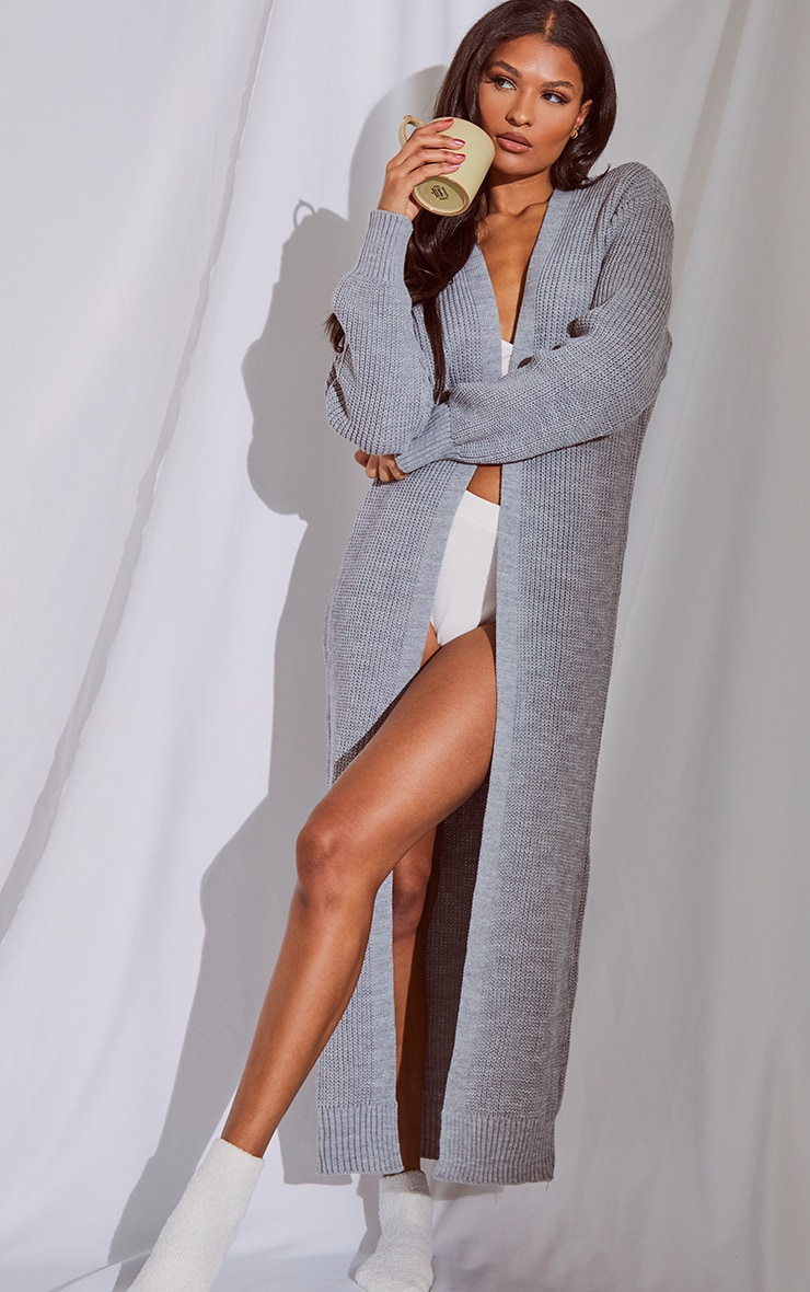 Light Grey Maxi Knitted Cardigan