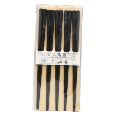 日本製六角筷-黑色-5雙入X2包組