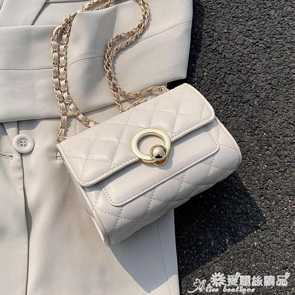 小方包 夏天洋氣小包包女包新款潮時尚錬條菱格包百搭側背斜背小方包 愛麗絲