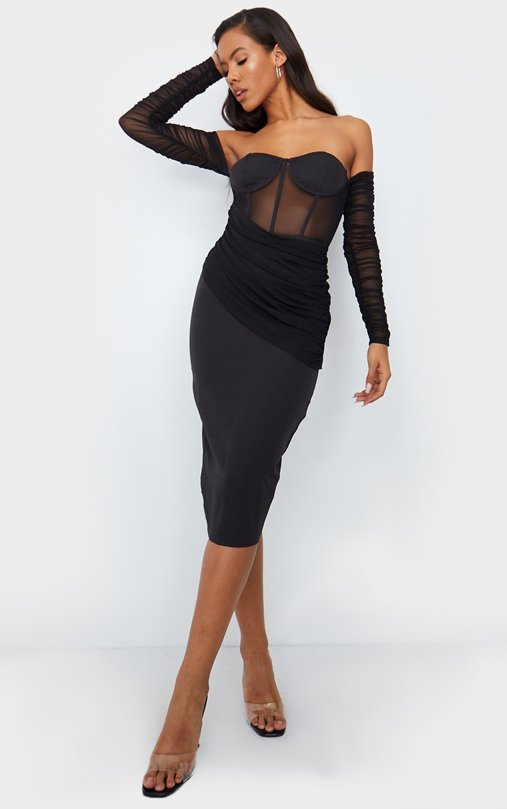 Black Mesh Drape Corset Detail Bardot Midi Dress
