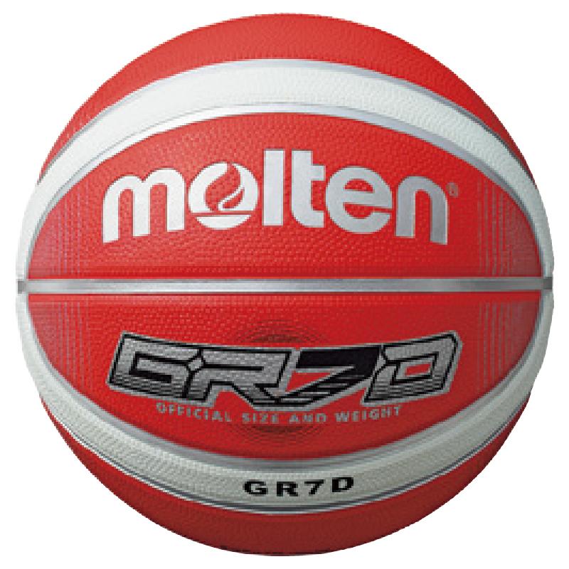 molten 12片貼深溝橡膠籃球-紅白色