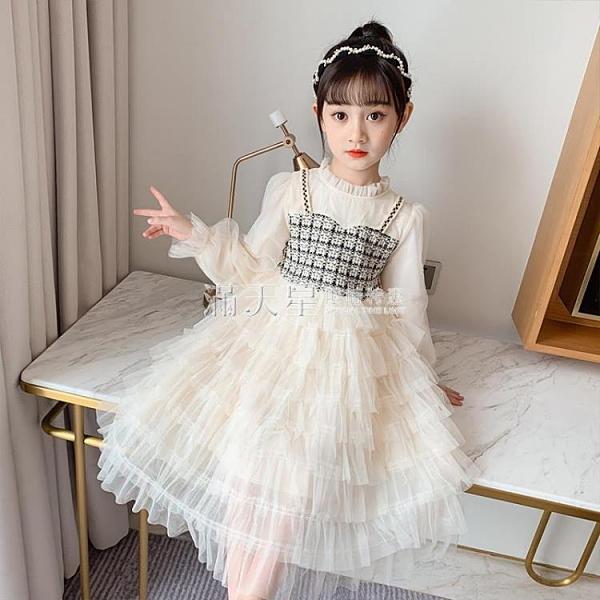 女童秋裝洋裝2020新款秋季洋氣中大兒童裝女孩長袖蛋糕公主裙子 滿天星