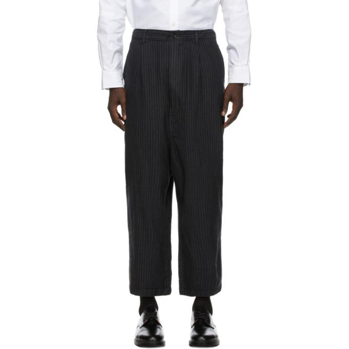 Comme des Garcons Homme 灰色条纹羊毛人字纹长裤