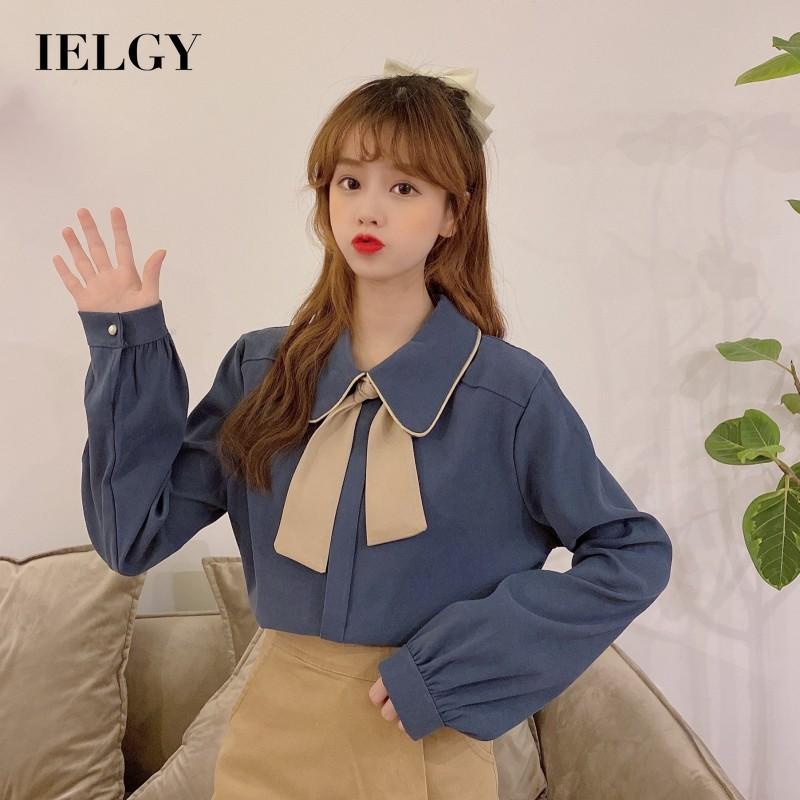 IELGY 蝴蝶結 女人的衣服 襯衫 時尚 上衣 長袖 韓版 休閒 寬鬆 法國