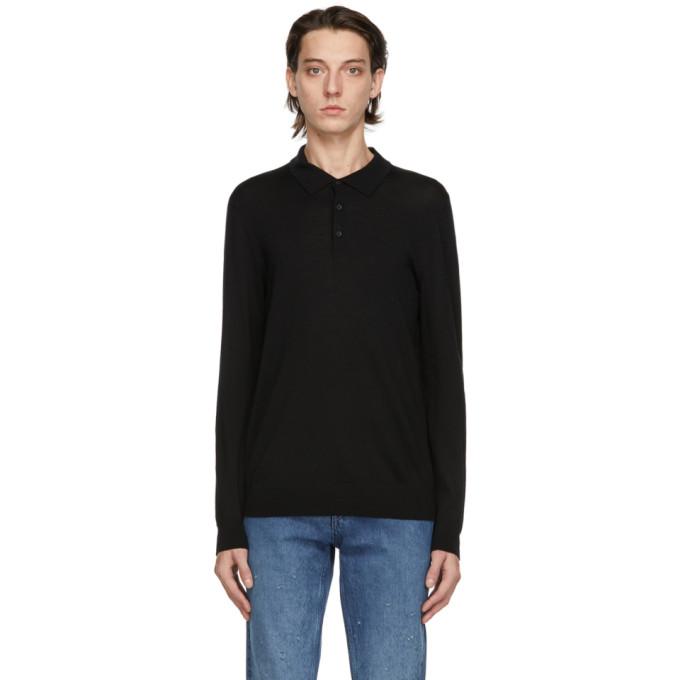 HUGO 黑色 San Giovanni 长袖 Polo 衫